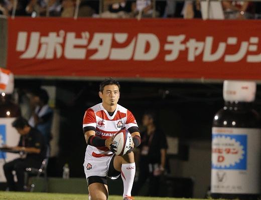五郎丸選手がゴールを狙う