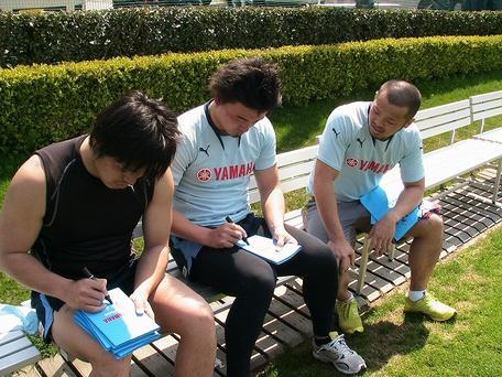 大田尾選手、矢富選手、五郎丸選手