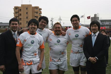 左から串田選手、松下選手(トヨタ)、山村選手、伊藤選手(リコ‐)、笠原選手、中園選手